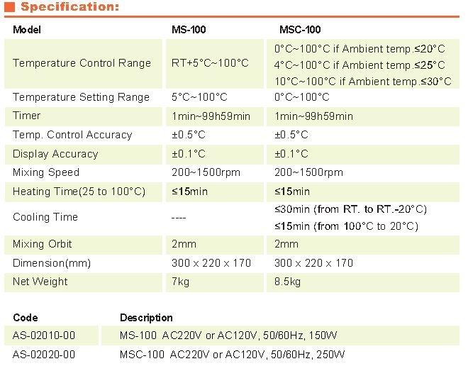 especificaciones MS-100
